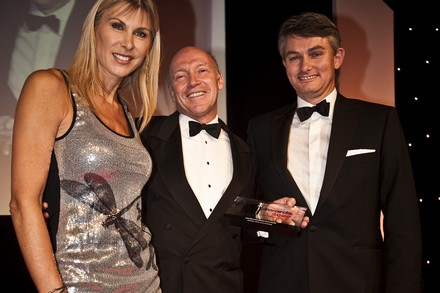 Sharron Davies with Michael Cant (centre) who received the Lifetime Achievement in FM Award from John Telling of MITIE (right)