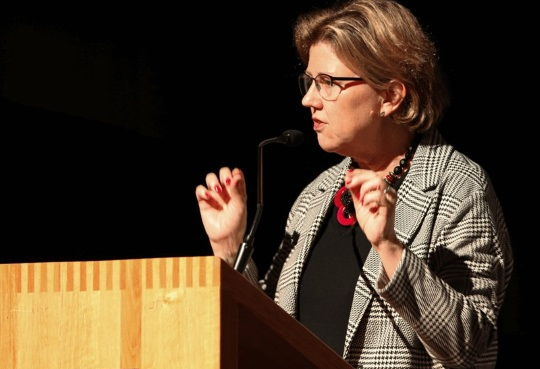 Ms Kortens at a speaking engagement in 2005