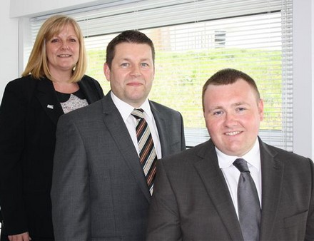 (l-r) Anne Clyde, Area Manager, UK Steel Enterprise, with Douglas McLeod, Operations Director and Ian McCall MD or Alba Facilities