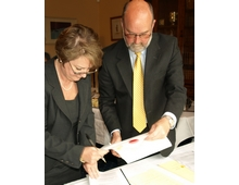 Devon Norse Joint Venture agreement being signed by Norse Commercial Services MD Peter Hawes and Jan Shadbolt County Solicitor for Devon County Council