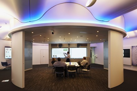 The dynamic Innovation Hub, equipped by Saville at the UK offices of business analytics software specialist SAS in Marlow. The technology includes interactive digital presentation systems integrated with High Definition videoconferencing.